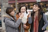 stock photo of candy cotton  - Happy young Asian woman eating cotton candy with her friends in outdoor - JPG