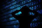 Shiny blue binary code on black background against shiny blue binary code on black background
