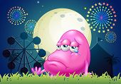 Illustration of a problematic pink monster near the carnival
