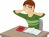 Illustration of a Guy Having Trouble Studying Because of Unwanted Noises
