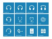 Earphones and speakers icons on blue background.