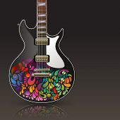 Electric guitar with sixties ornaments, eps10 vector