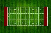 American football field top view on grass
