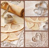 Baking collage includes images of heart shaped cookie cutters with dough and rolling pin on decorati