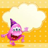 Illustration of a beanie monster with a purple hat celebrating