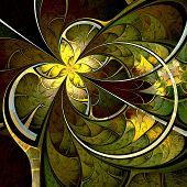Dark Yellow And Green Fractal Flower