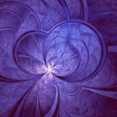 Blue Light Fractal Flower, Digital Artwork