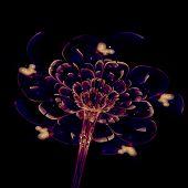 Dark Yellow Fractal Flower, Digital Artwork