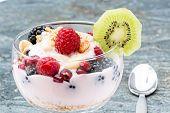 Delicous Berry Parfait Garnished With Kiwifruit