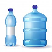 2 water bottles over white background