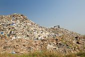 Bulldozer Buries Food And Industrial Wastes