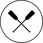 crossed canoe paddles symbol
