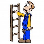hand drawn illustration of man holding a ladder and a hammer