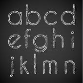 Chalk drawn alphabet characters collection -  lowercase version