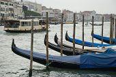 gondolas of venice on a rainy day