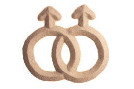 stock photo of verbs  - two female signs figuring lesbian homosexuality sculptured in sand - JPG