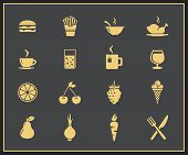Food and drink icon set. Drinks, fastfood, fruits and vegetables vector icons