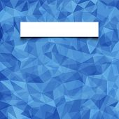 Abstract  blue mosaic pattern with blank white paper banner with shadow. Vector pattern background