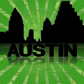 Austin skyline reflected with green dollars sunburst illustration