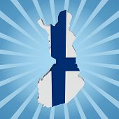 Finland map flag on blue sunburst illustration