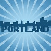 Portland skyline reflected with blue sunburst illustration