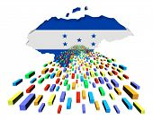 Honduras map flag with containers illustration