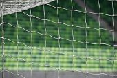 White soccer net with green tribune background