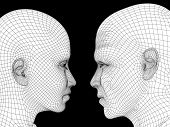 High resolution concept or conceptual black and white 3D wireframe human male or female head isolate