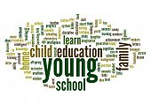 High resolution concept or conceptual young and education abstract word cloud on white background