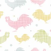 Abstract textile roosters seamless pattern background