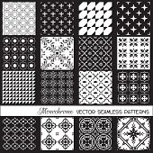Seamless backgrounds Collection - Monochrome Set - for design and scrapbook - in vector