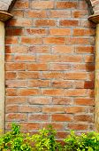 Brick Wall With Stone Pole Frame