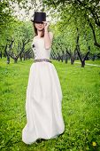 Vintage style bride outdoors