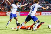 Sisaket Thailand-july 23: Players Of Songkhla Utd. (white) In Action During Thai Premier League Betw