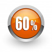 60 percent orange glossy web icon