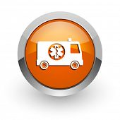 ambulance orange glossy web icon