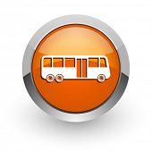 bus orange glossy web icon
