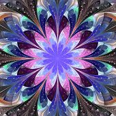 Symmetrical Pattern In Stained-glass Window Style. Darkblue, Blue And Pink Palette. Computer Generat
