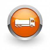 truck orange glossy web icon