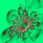 Beautiful Red Flower On Green Background. Computer Generated Graphics.
