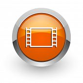 movie orange glossy web icon