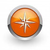 compass orange glossy web icon