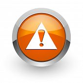 exclamation sign orange glossy web icon