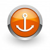 anchor orange glossy web icon