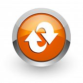 rotation orange glossy web icon