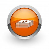 money orange glossy web icon
