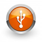 usb orange glossy web icon