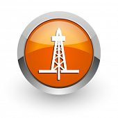 drilling orange glossy web icon