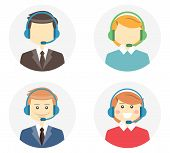 image of telemarketing  - Call center operator icons with a smiling friendly man and woman wearing headsets and a second variation where they are featureless or faceless on round web buttons  vector illustration - JPG