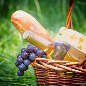 Bottle of white wine in basket with fresh food for picnic outdoo